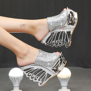 Diseñador de lujo sandalias de cuña sexy 15 cm ultra tacones altos lentejuelas señora boda zapatos de color oro plata tamaño 35-38