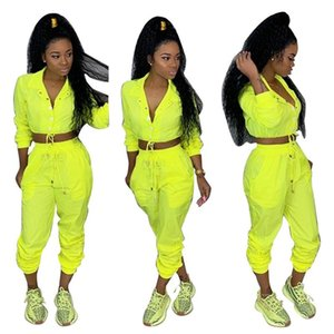 Spring Womens 2pcs Pants Solid Color Sports Set With Button Female Jumpsuit Casual Apparel