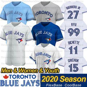 Toronto Vladimir Vlad Guerrero Jr. Jersey 13 Lourdes Gurriel Jr 99 Hyun-Jin Ryu Brandon Drury Randal Grichuk 2020 Sezon Beyzbol Formalar