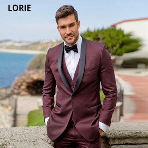 LORIE High Quality Burgundy Groom Suits for Wedding 3 Pieces Tuxedos Shawl Collar Man Prom Party Dress Mens Wedding Clothes Suit