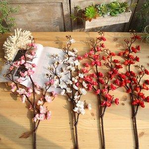 Cherry Blossom Spring Plum artificielle Branche de simulation de fleurs de soie Direction Faux Accueil Parti décor Art mariage