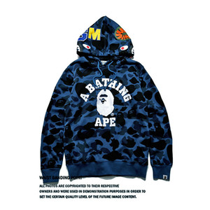 Haut Design Shark Head Jcaket Imprimé Camouflage Hoodies Pull Oversize High Street Sports Men \ '; S Sweat Livraison Gratuite