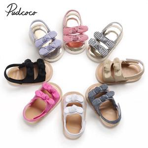 2020 Nouveau-né bébé douce Sole Sandales florale bébé enfant en bas âge été rayé Bow Mignon Filles Sandales Chaussures bébé 0-12m