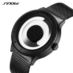 Sinobi 소용돌이 시계 남성 스포츠 캐주얼 높은 품질 스테인레스 스틸 레트로 밀라노 밴드 현대 독특한 창조적 인 블랙 손목 시계