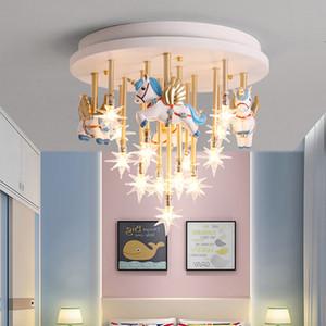 Lâmpadas de teto do quarto das crianças Criativo Star Lamp Pegasus meninos e meninas princesa quarto levou luminária de teto lâmpadas nórdicas para sala de estar