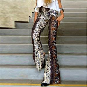 2019 Striped Women Printed New Boho Pants High Vintage Elastic Waist Elastic Soft Ethnic Style Bell Background Hippie Pants W3