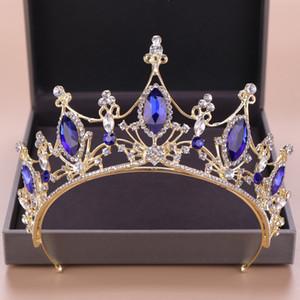 Altın Kadın Saç Takı Mavi Kristal Rhinestone kısımda diadem Vintage Çelenkler Ve Kron Kraliçe Prenses Düğün Saç Aksesuarları Hediyeleri
