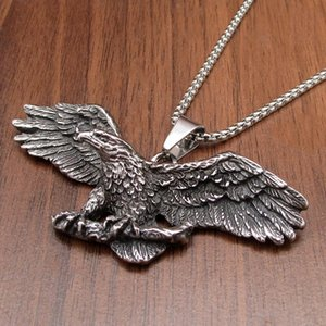 Free Shipping Punk 316L Stainless Steel Silver color Black color Eagle Animal Biker Hawk Pendant Jewelry
