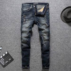 Stilista di moda Uomo Jeans di alta qualità dei jeans classici Uomo Slim Fit Colore Dark Ripped Pants Homme Biker Uomo