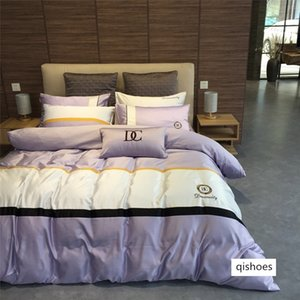 European modern business bedding wash silk version cotton cottonqueen Bed Comforters Sets designer bedding sets Quilt cover 4 pieces suit mm