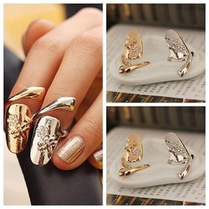 Exquisite Cute Retro Queen Dragonfly Design Rhinestone Plum Snake Gold Silver Ring Finger Nail Rings YD0144