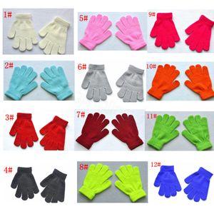 12styles Tam Parmak Eldiven Çocuk Kız Eldivenler Kış Eldiven Erkek Çocuklar Kız Eldiven Bebek Örgü Stretch Şeker Renk hediye FFA3243 Isınma
