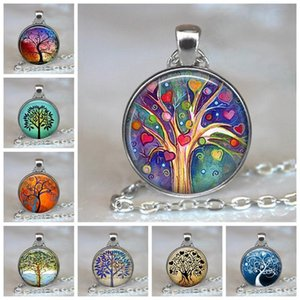 Tree of Life Pendant Necklaces Glass Cabochon Statement Necklace Jewelry Vintage Chain Choker Couple Punk Jewelry Gift for Women Men