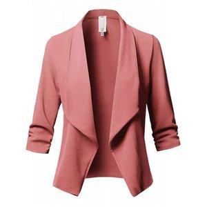 Diseñador de color sólido plisado las mujeres traje de lujo de otoño mangas largas de vestir exteriores de la capa formal impreso manera femenino