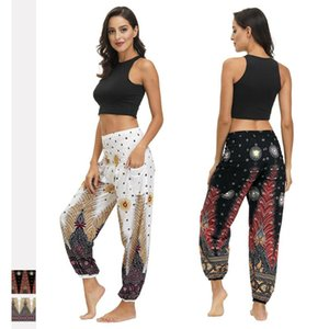 Boho bohem Casual Baggy Harem Pantolon Koşucular Gevşek Yüksek Bel Pantolon Kadınlar Kız Native için Sweatpants Tüy Giyim