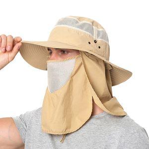 Verão chapéus de sol removível Mosquito impermeável Pesca Chapéu Com Neck Flap Caminhadas Cap Bucket Outdoor Hat Pesca Cap 100pcs T1I1931