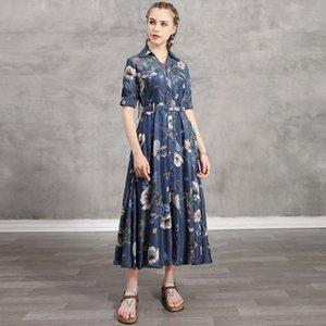 Boutique 2020 summer new designer denim printed long skirt high waist retro tencel denim dress wholesale