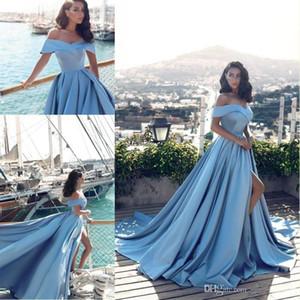 Светло-синий элегантный с плеча высокого раскола вечерние платья Милая Официальные платья для вечеринок разведка поезда пропускные платья плюс размер