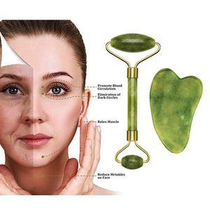 Фондовый Нефритовый Ролик Gua Sha Scrapping Tool Set Aging Facial Massager, Аутентичный Нефритовый Каменный Ролик Для Лица, Натуральный F