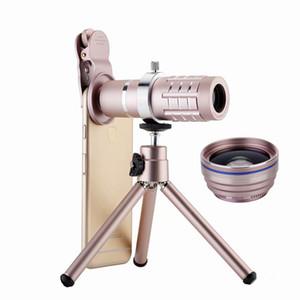 유니버설 금속 클립 12X 전화 렌즈 키트 HD 12x 줌 광학 망원경 0.45X 와이드 앵글 15X 슈퍼 매크로 렌즈 (미니 삼각대 포함)