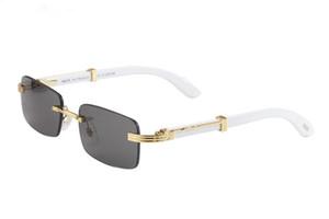 New 2020 Holz-Sonnenbrille-Männer Holz Buffalo Horn Sonnenbrille der Frauen-Mode-Männer Spiegel Randlos Bambus Sonnenbrillen Oculos de sol masculino
