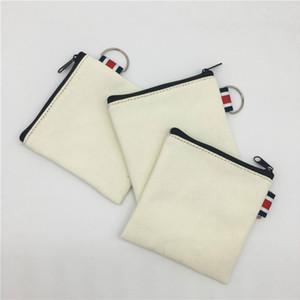 Blank fai da te dipinta a mano Canvas Bag Pure Zipper moneta chiave del sacchetto dei soldi tasca Donne Uomini creativo portatile borsa della moneta del piccolo portafoglio Kid
