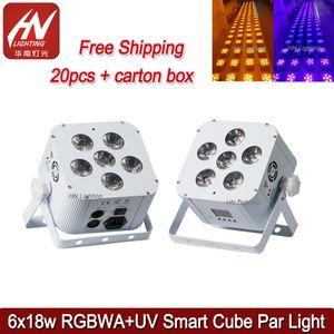 20pcs 충전식 배터리 파 주도 수 LED 파 6x18W RGBWA UV LED PAR 워시 무선 Uplighter