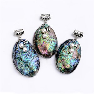 Rainbow Color Large Oval Natural Abalone Fossils Seashell Paua Shell Beads Pendant DIY Necklace 5 Pieces
