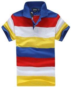 Fashion Mens Striped polo T-Shirt American Design Cotton Short Sleeve Sport Polos Shirt Cheap Tee Shirts Colorful Boys leisure Clothing