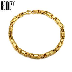 HIP titane rond en acier inoxydable bracelet chaîne byzantine pour les bijoux rock masculin, l'or, l'argent, la couleur noire
