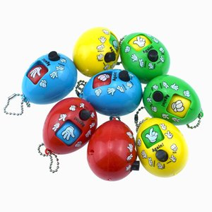 Mixed Styles Mora Games Keychain Rock Paper Scissors Play Toy Key Chain Face Dolls Keychains Round Egg Keychain L469