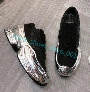 Hococal 2020 Дизайнер кроссовки Raf Simons Крупногабаритные Sneaker Ozweego обуви мужчин женщин Роскошные дизайнерские туфли в Silver Metallic эффект Sole