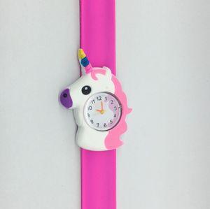 Çocuklar Unicorn İzle 3D Karikatür Unicorn Kuvars saatler Silikon Band tokat İzle Çocuklar hediye doğum günü GGA3414-3 saatler