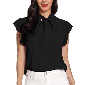 Casual das Mulheres Cap Manga Bow Tie Solid Chiffon Blusa Tops chemisiers et blusas femme camisa mujer blusas mulher 2019