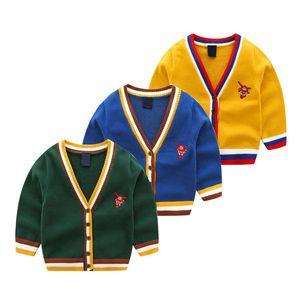 Rayado niños chaqueta de punto de los muchachos aviones de largo los suéteres de la manga de dibujos animados niños Ropa Casual muchachos del niño otoño del resorte de la capa caliente 06