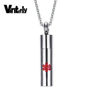 Vinterly Zylinder Red Gravur Anhänger Medical Alert Halskette Edelstahl Urnen für Asche Fashion Jewelry