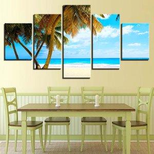 Moderne HD-Drucke Leinwand-Gemälde Wohnkultur 5 Stück Strand Wand-Kunst-Modular Sea Pictures Baum Landschaft Schlafzimmer-Grafik-Plakat