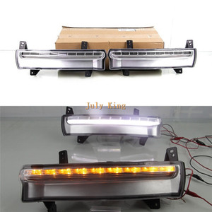 Julio, el rey LED de luces de circulación diurna caso para Jeep Compass 2017+, parachoques delantero LED DRL con la flámula amarillo Intermitentes Luz, Tipo B