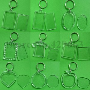 50pcs / lot vuoto cuore acrilico Portachiavi Inserire Foto di plastica portachiavi Piazza chiave rettangolo accessori circolari SH190924