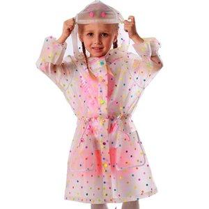 Yuding enfants Raincoat Tunique Fashion Design Insipide imperméable avec capuche Raincoat Tpu pois enfants style long Raincoat uYhFY