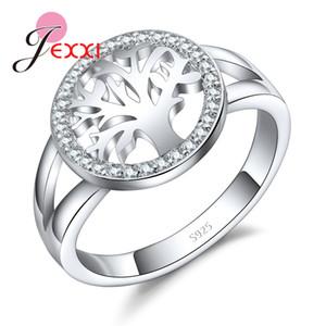 JEXXI Дерево Жизни стерлингового серебра 925 кольца для женщин кубического циркония серебряное обручальное кольцо для девушки Новый Desigh дерево аксессуар