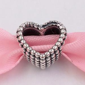 Otantik 925 Gümüş Boncuk Boncuklu Kalp Charm Charms Avrupa Pandora Stil Takı Bilezikler Kolye 797516 uyar