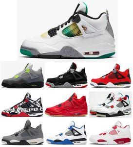 Neue 4 Rasta Jamaika Karneval Männer Frauen-Basketball-Schuhe 4s Neon Bred Tattoo Singles Day Alternate Motorsport-Turnschuhe mit Kasten