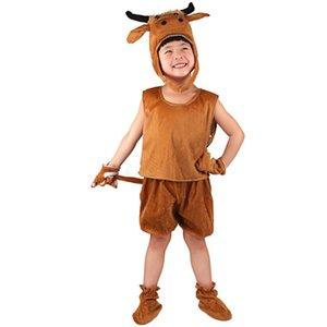 4 개 / 세트 코스프레 갈색 암소 동물 의상 어린이 점프 슈트 할로윈 의상 크리스마스 카니발 파티 여름 어린이 생일 의상