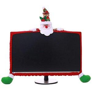 Noel Bilgisayar Monitörü Kapak Ev Ofis Hediyesi için Sevimli Claus Dekorasyon