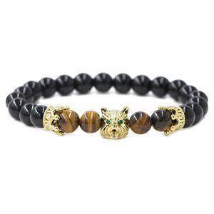 Lupo testa corona gemma braccialetto unisex pietra naturale personalità temperamento braccialetto fedeltà significato regalo