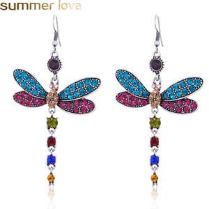Урожай Dragonfly кисточкой серьги многоцветный Кристалл мотаться серьги Boho Кристалл Rhinestone для женщин Lady Дизайн ювелирных изделий Аксессуары