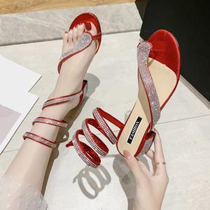 Rimocy Стразы квадратного Heels сандалии женщины сексуальной партии Гладиатор обувь женщина красный серебряный крест ремешок Sandalias Mujer