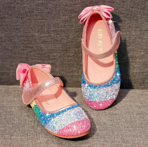 Princess Kids Leather Shoes For Girls Candy Color Casual Sandals Glitter Children Sandals Soft Kids Dance Performance Shoes