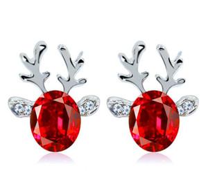 Regalo de Navidad de la mujer elegante joyería de perlas de Navidad ciervos pendientes del perno prisionero del oído reno GB1353